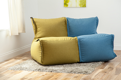 Olive Wool Feel Modular Sectional Bean Bag Sofa Zip