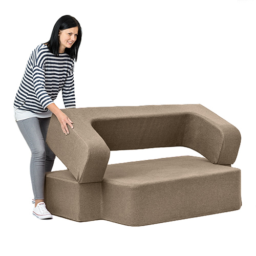 Latte Wool Feel Poppy Easy Fold Out Flip Sofa Bed Foam
