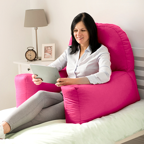 Pink Cotton Chloe Bed Reading Pillow Bean Bag Cushion Arm
