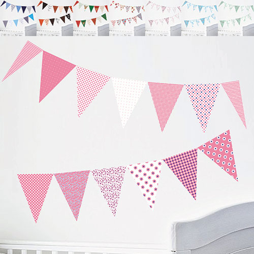 bunting wall stickers bedroom party decorations children nursery