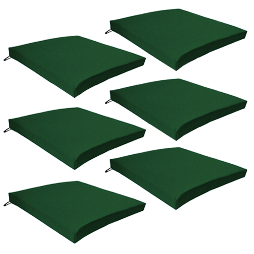 Green 6 Pack Seat Chair Cushion Outdoor Garden Tie On Waterproof Pad