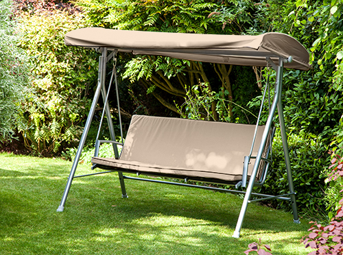 Stone Replacement 3 Seater Canopy Garden Patio Swing Bench