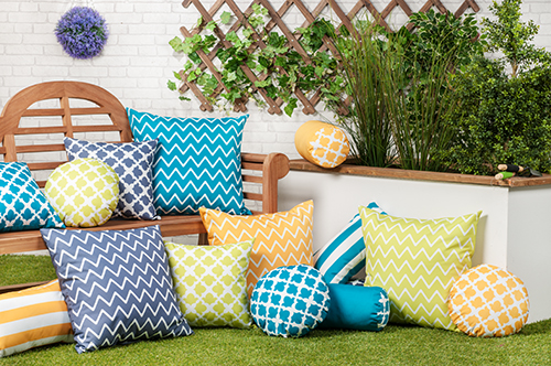 Mustard Yellow Arabesque Collection Outdoor Cushion