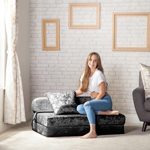 etoile zerdr ckter samt doppel sessel bett sofa zbed schaum ausklappbar gast ebay. Black Bedroom Furniture Sets. Home Design Ideas