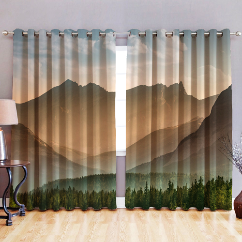 Bedroom Curtains Uk Only: Blackout Fabric 3D Printed Curtains Eyelet Ready Made Ring