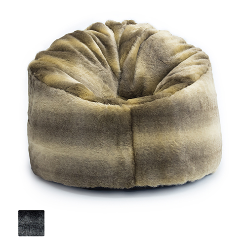 Luxury Wolf Arctic Faux Fur Bean Bag Extra Large Adult