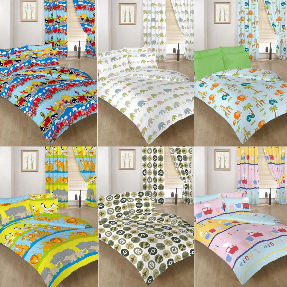 Single & Double Size Duvet Cover Set Curtains Bedding