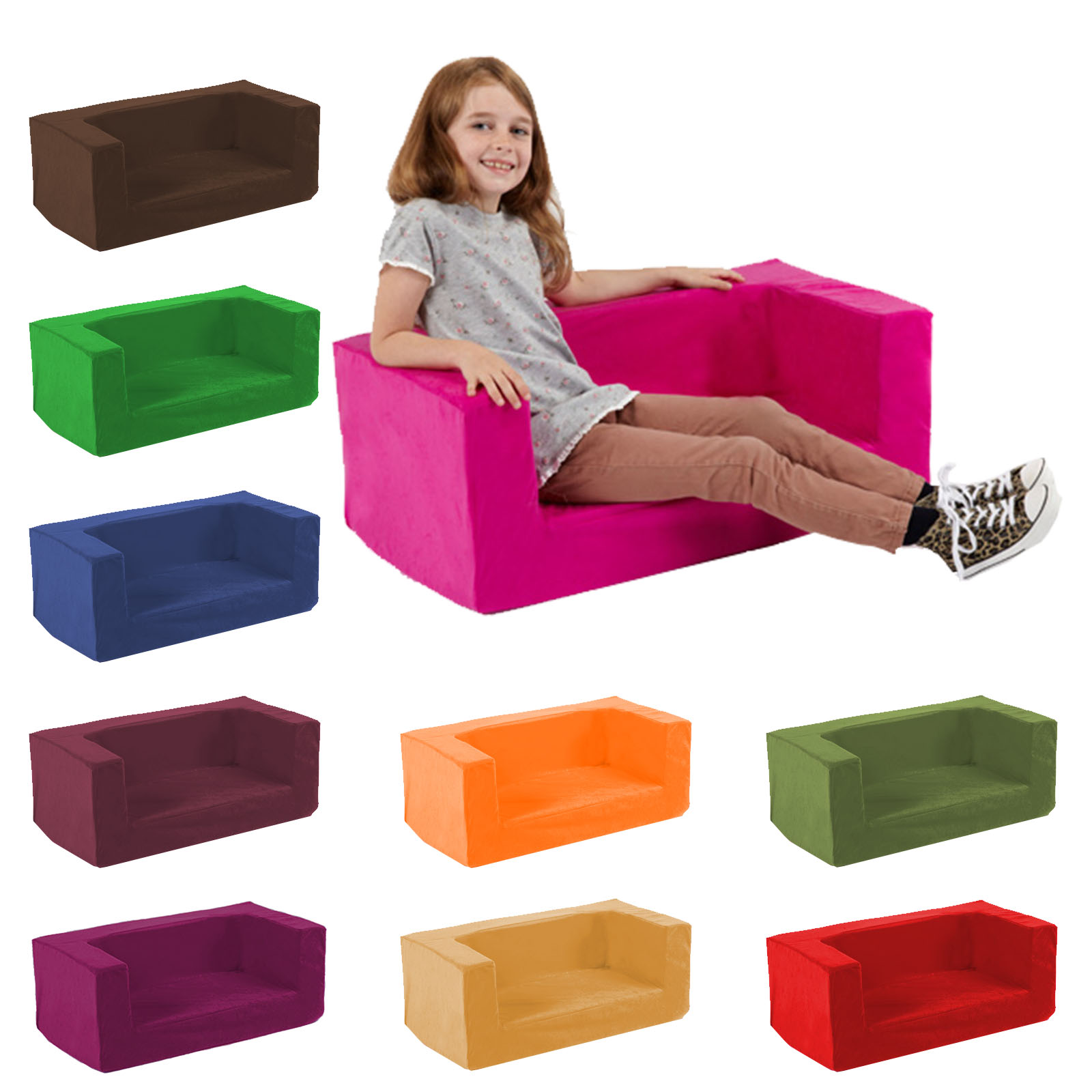 Best Sofa Sectional Material For Kids: Kids Children's Double Comfy Settee Toddlers Foam Sofa
