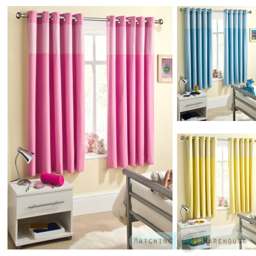 Childrens gingham curtain thermal blockout eyelet ring top - Childrens bedroom blackout curtains ...