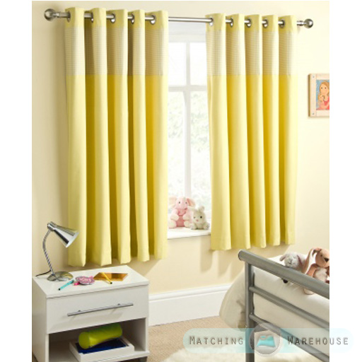 Details About Childrens Gingham Curtain Thermal Blockout Eyelet Anneau Top Kids Nursery