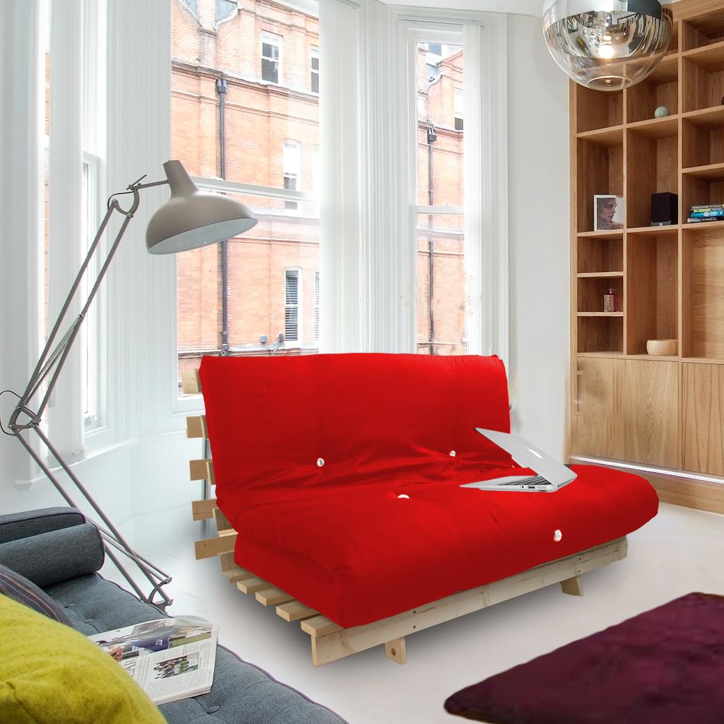 red studio futon wooden frame sofa bed thick sleeping mattress student dig ebay. Black Bedroom Furniture Sets. Home Design Ideas