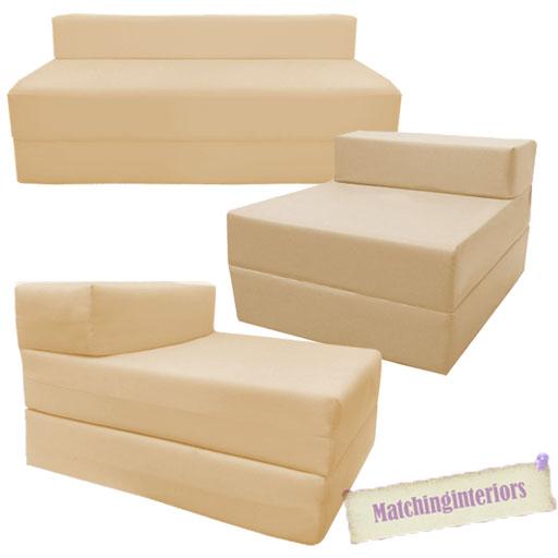 Beige Fold Out Guest Sofa Z Bed Sleeping Mattress Studio