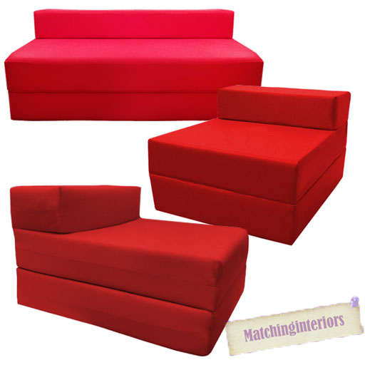Red fold out guest sofa z bed sleeping mattress studio for Sofa exterior plegable