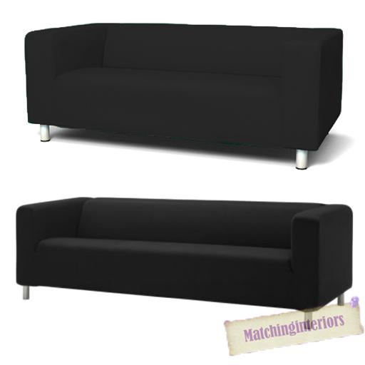 schwarze abdeckung husse zum anpassen ikea klippan 2 or 4 sitzer sofa couch ebay. Black Bedroom Furniture Sets. Home Design Ideas
