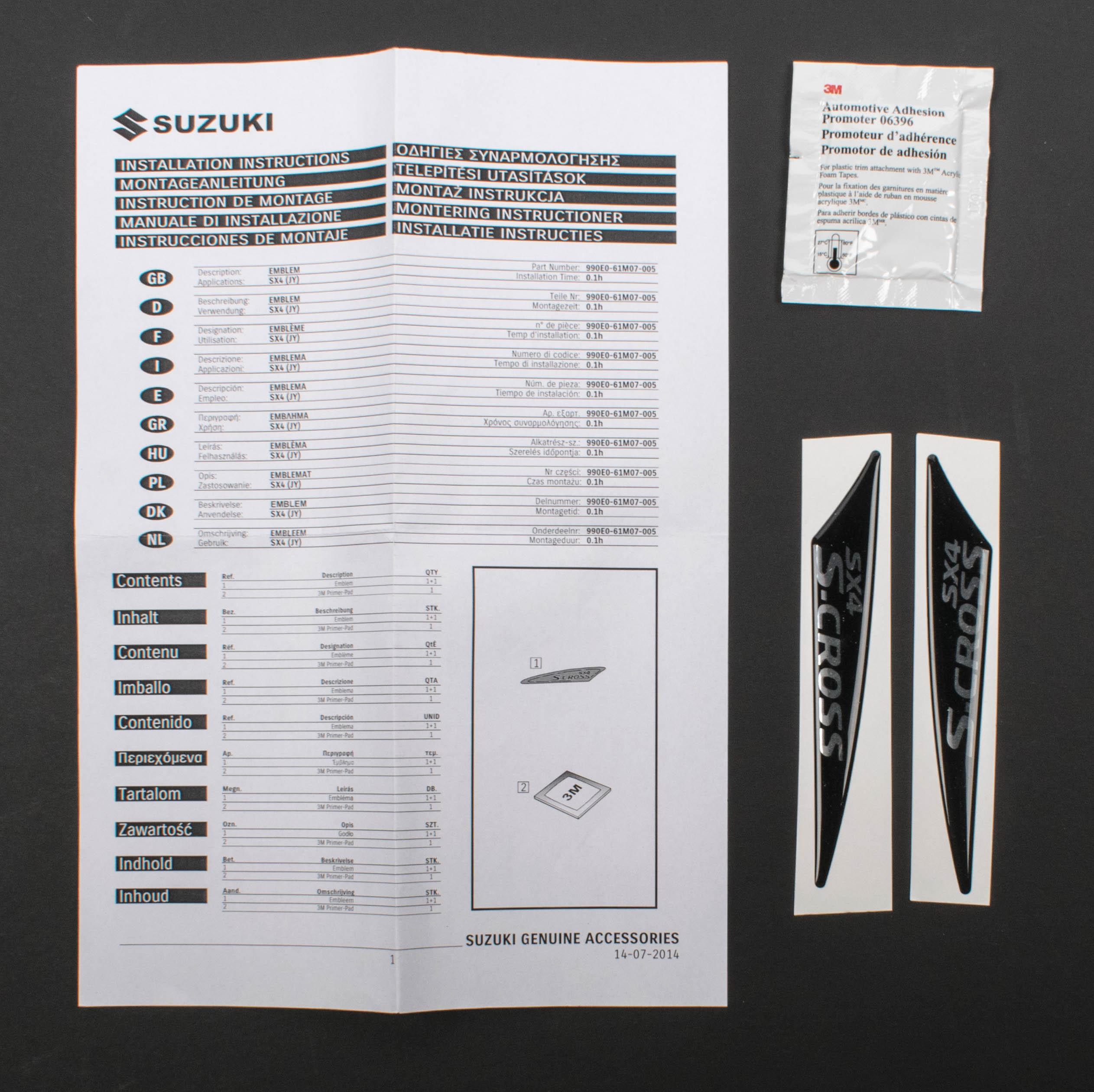 Suzuki Genuine SX4 S-Cross Facelift Side Body Moulding Badge Set 990E0-61M07-005
