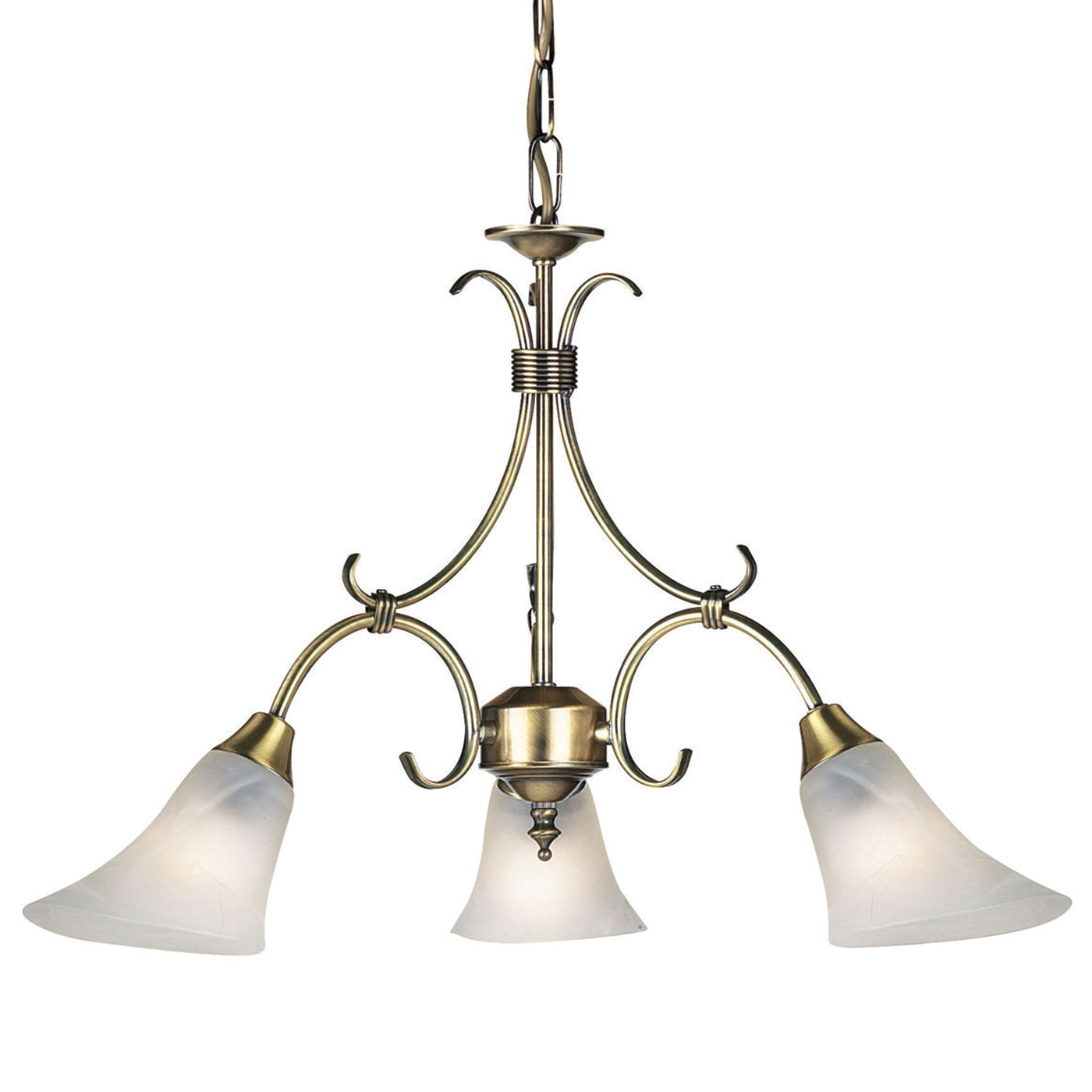 Endon Hardwick pendant 3x 40W Antique brass effect plate & frosted glass