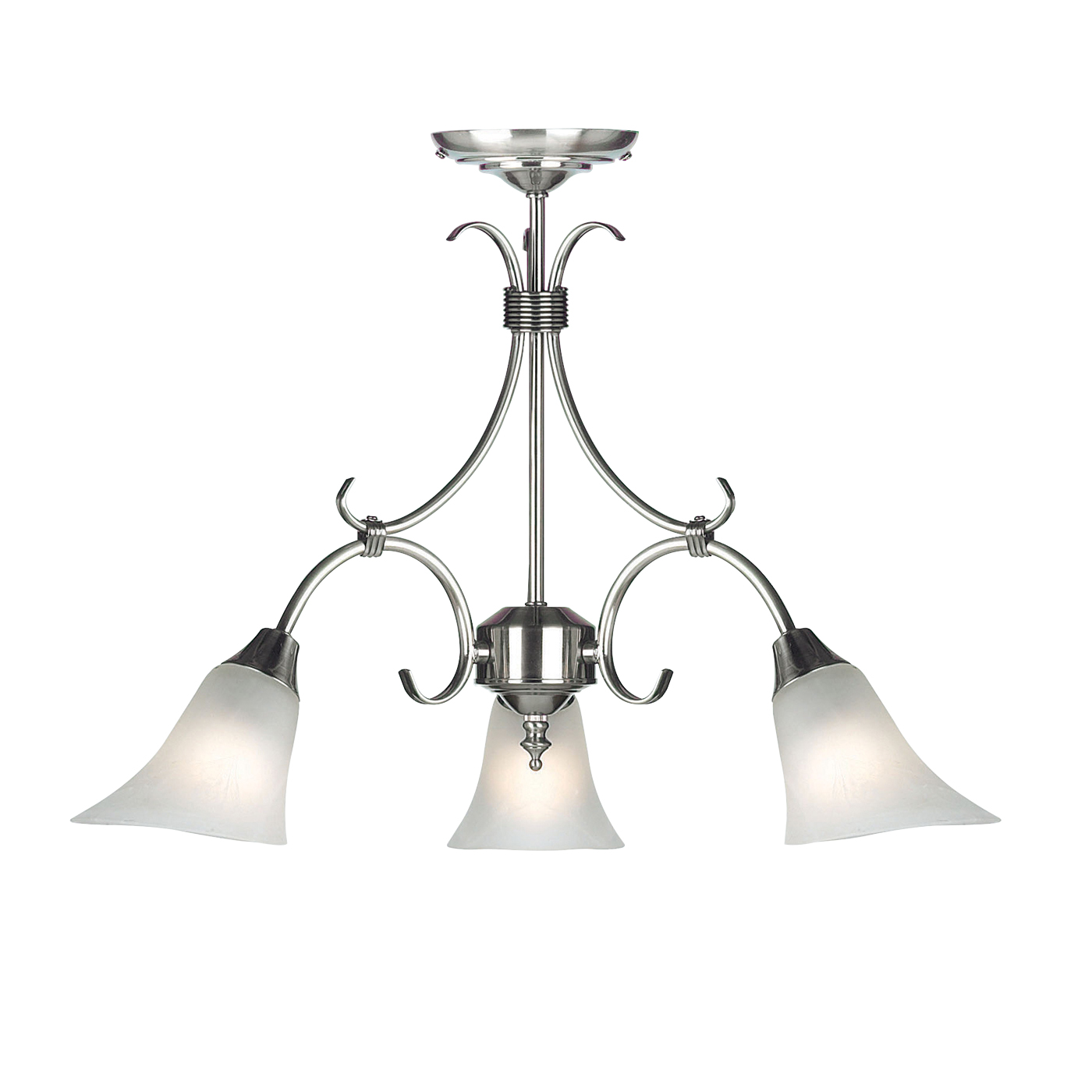 Endon Hardwick pendant 3x 40W Antique silver effect plate & frosted glass Thumbnail 1