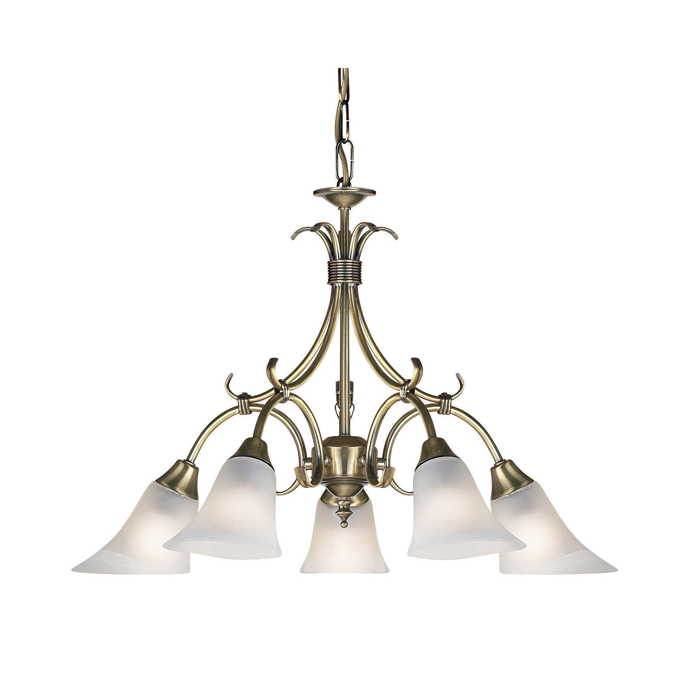 Endon Hardwick pendant 5x 40W Antique brass effect plate & frosted glass