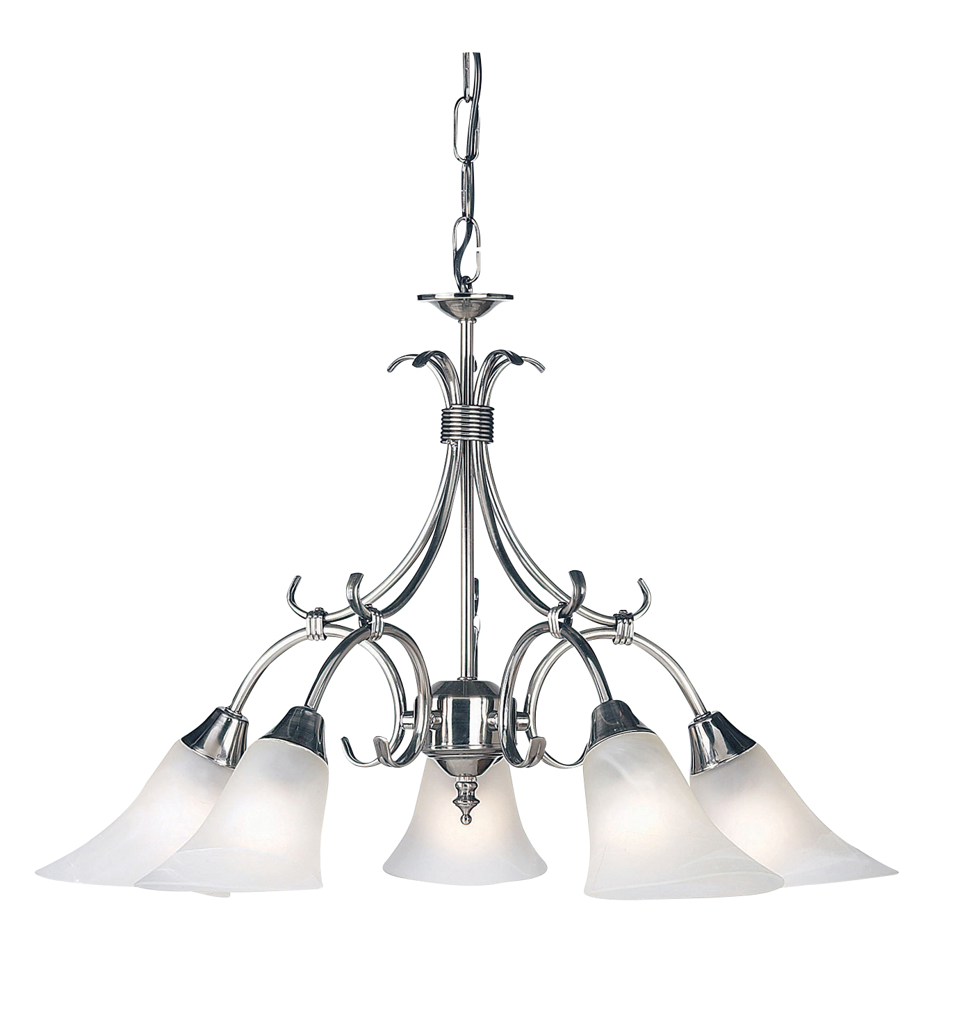 Endon Hardwick pendant 5x 40W Antique silver effect plate & frosted glass Thumbnail 1