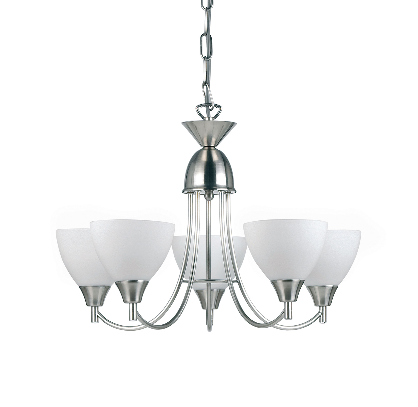 Endon Alton pendant 5x 60W Satin chrome effect plate & matt opal glass