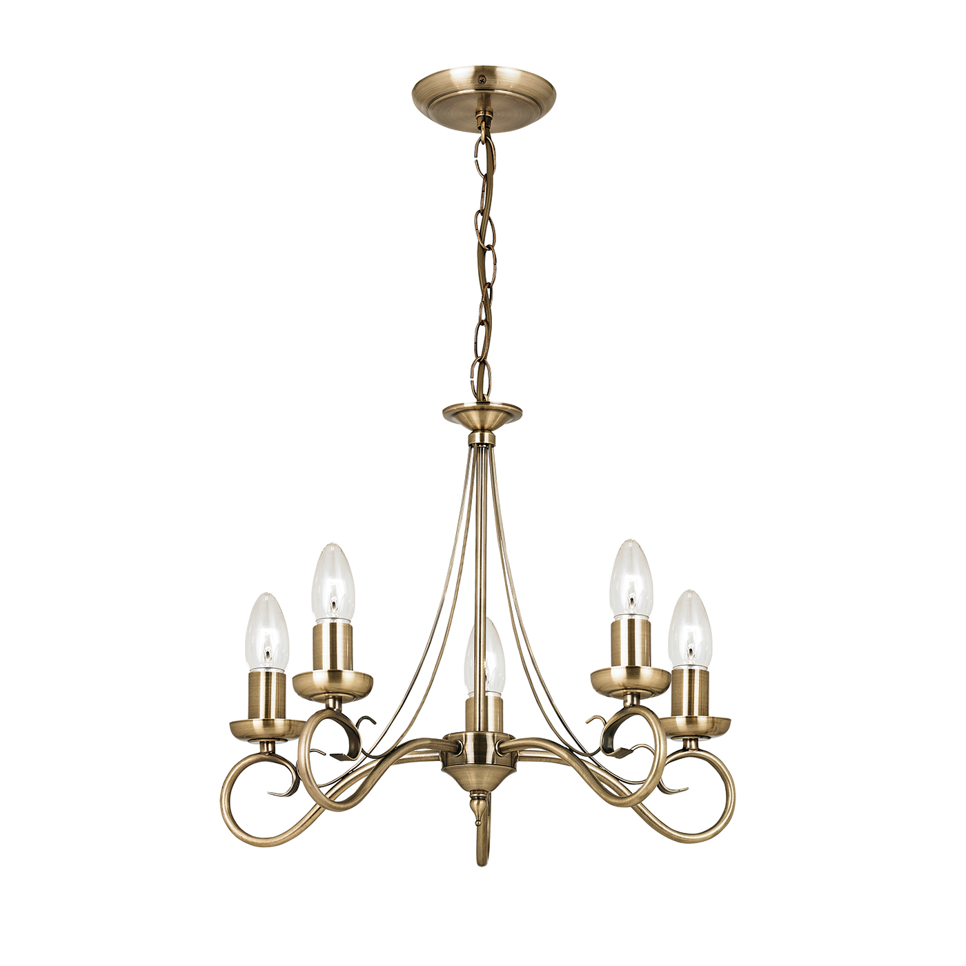 Endon Trafford chandelier 5x 60W Antique brass effect plate