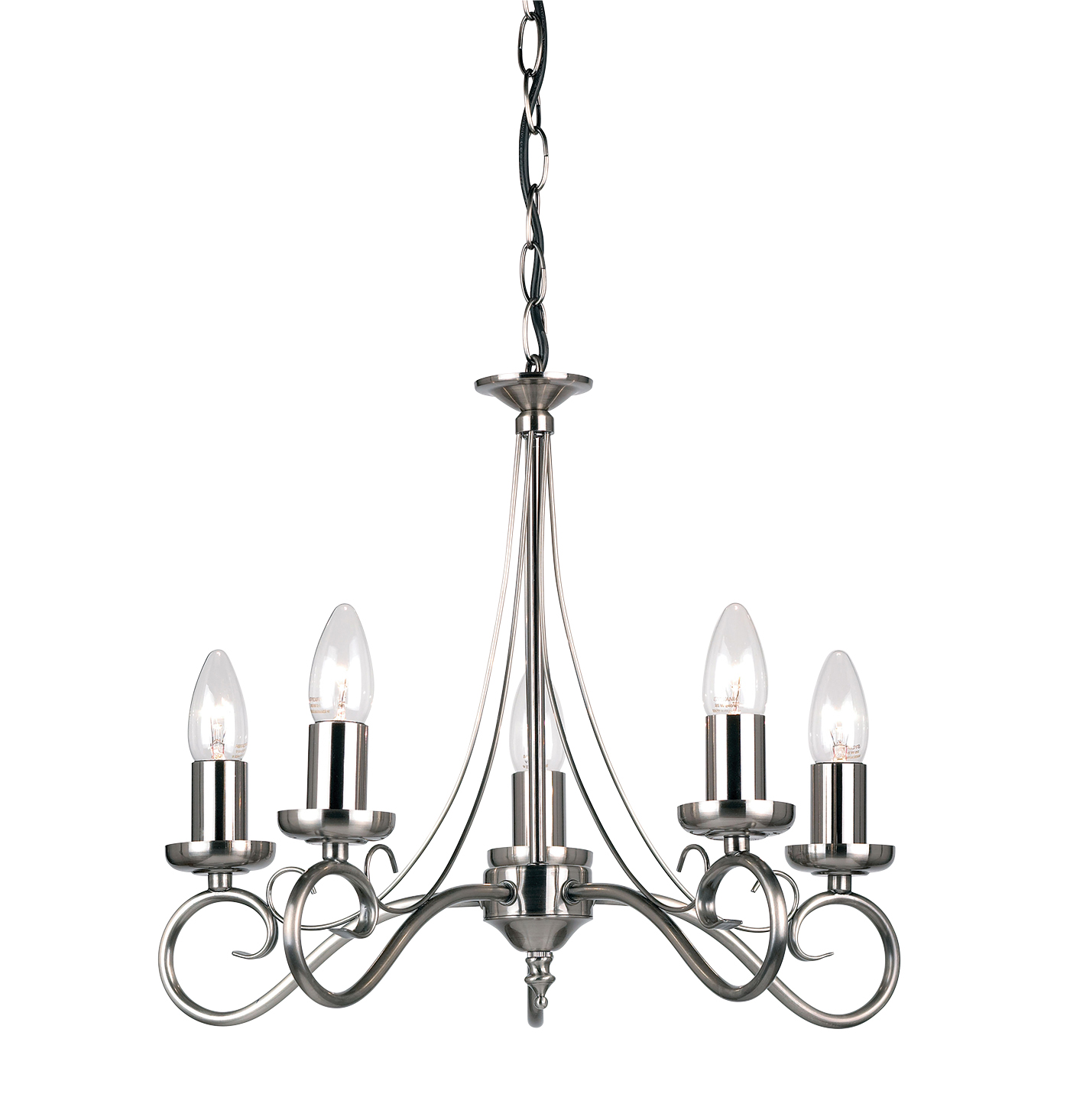 Endon Trafford chandelier 5x 60W Antique silver effect plate