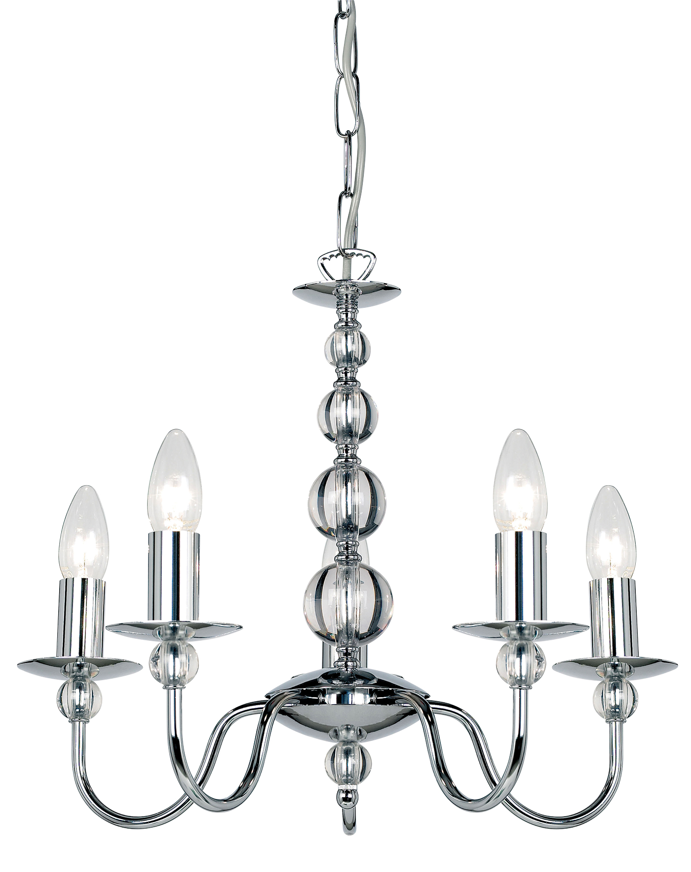 Endon Parkstone chandelier 5x 60W Chrome effect plate & clear glass Thumbnail 1