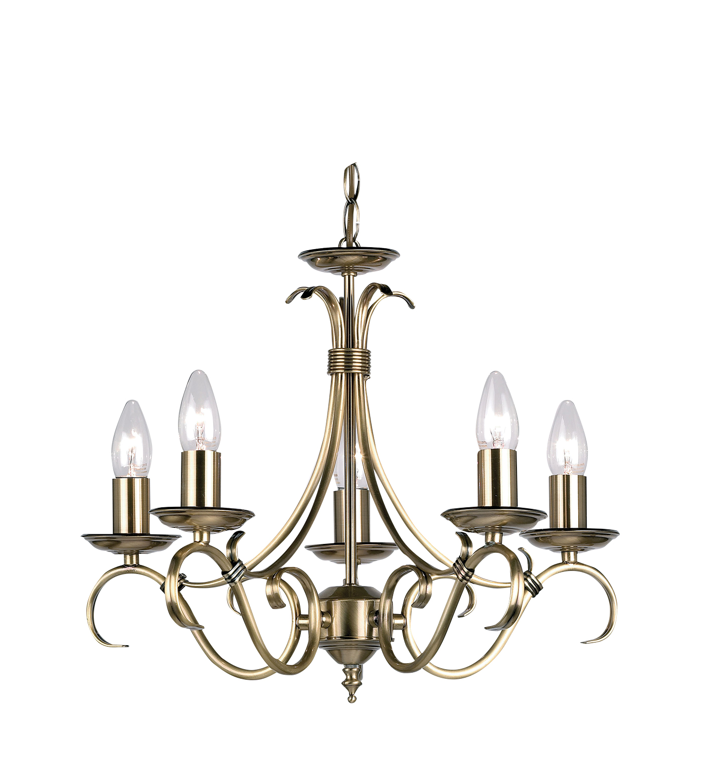Endon Bernice chandelier 5x 60W Antique brass effect plate Thumbnail 1