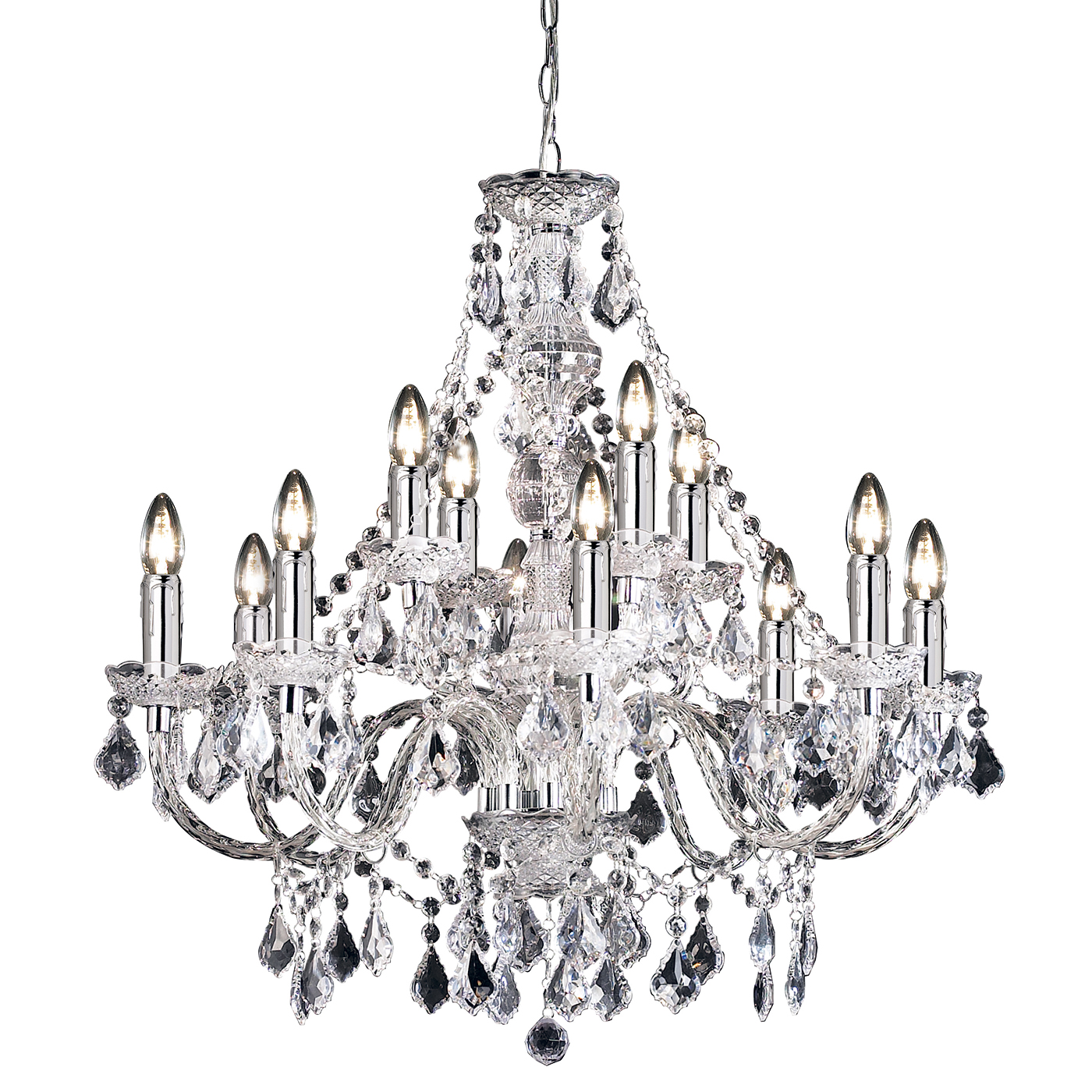 Endon Clarence chandelier 12x 60W Clear acrylic & chrome effect plate Thumbnail 1