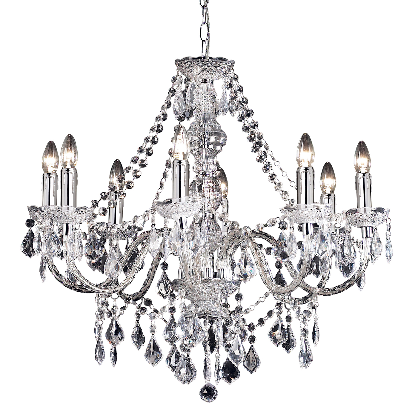 Endon Clarence chandelier 8x 60W Clear acrylic & chrome effect plate Thumbnail 1