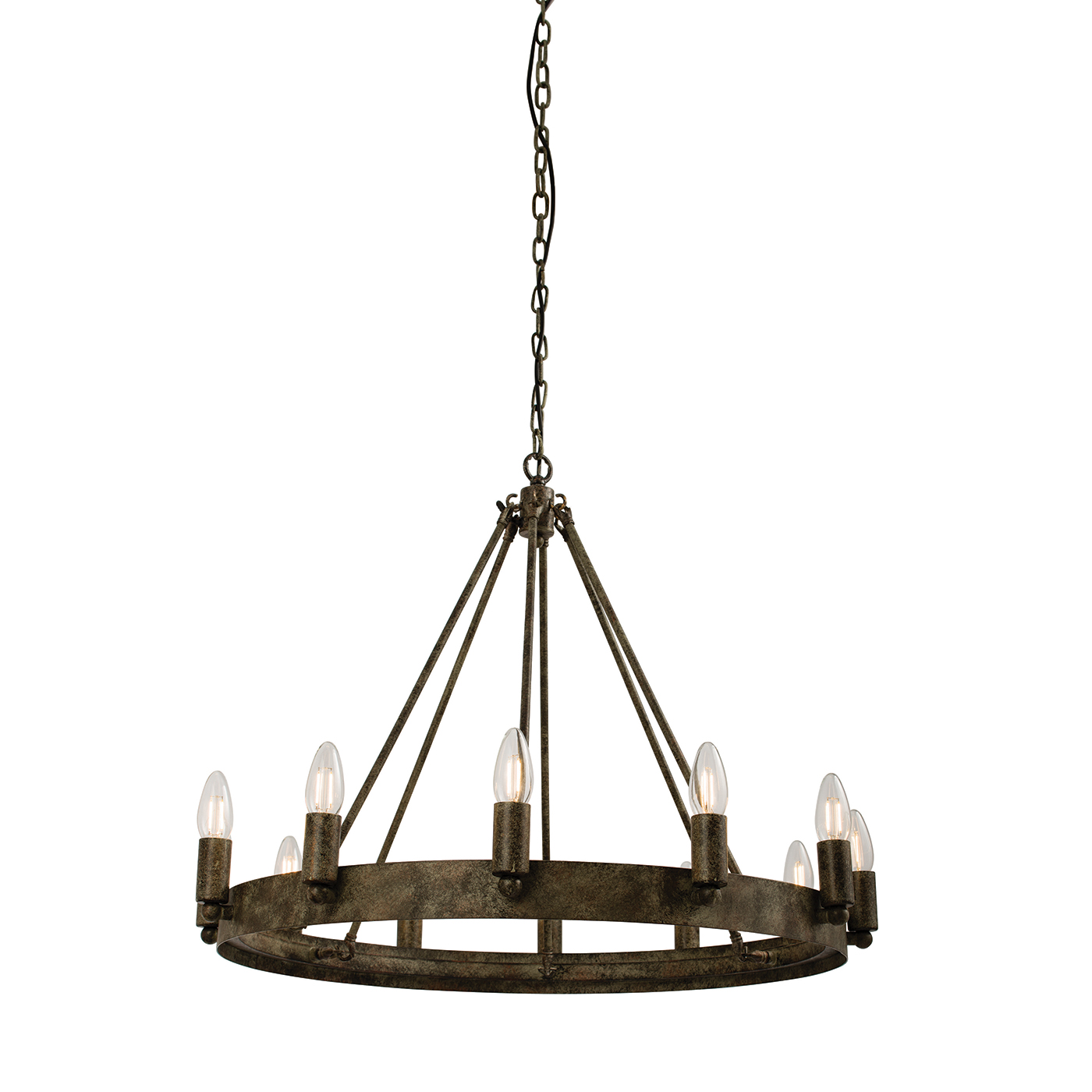 Endon Chevalier chandelier 12x 60W Aged metal effect paint