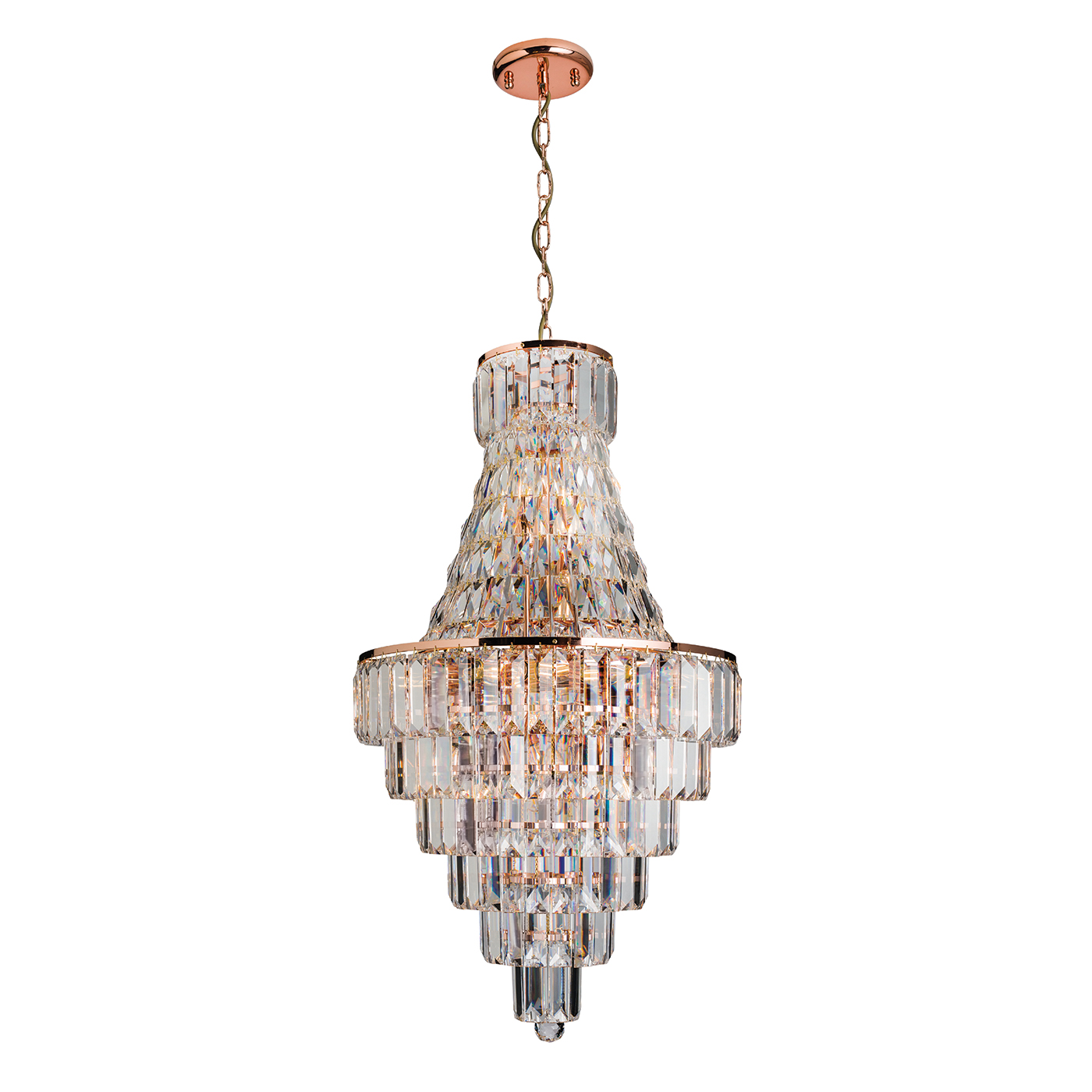 Endon Innsbruck 1 chandelier 8x 40W Rose gold effect plate