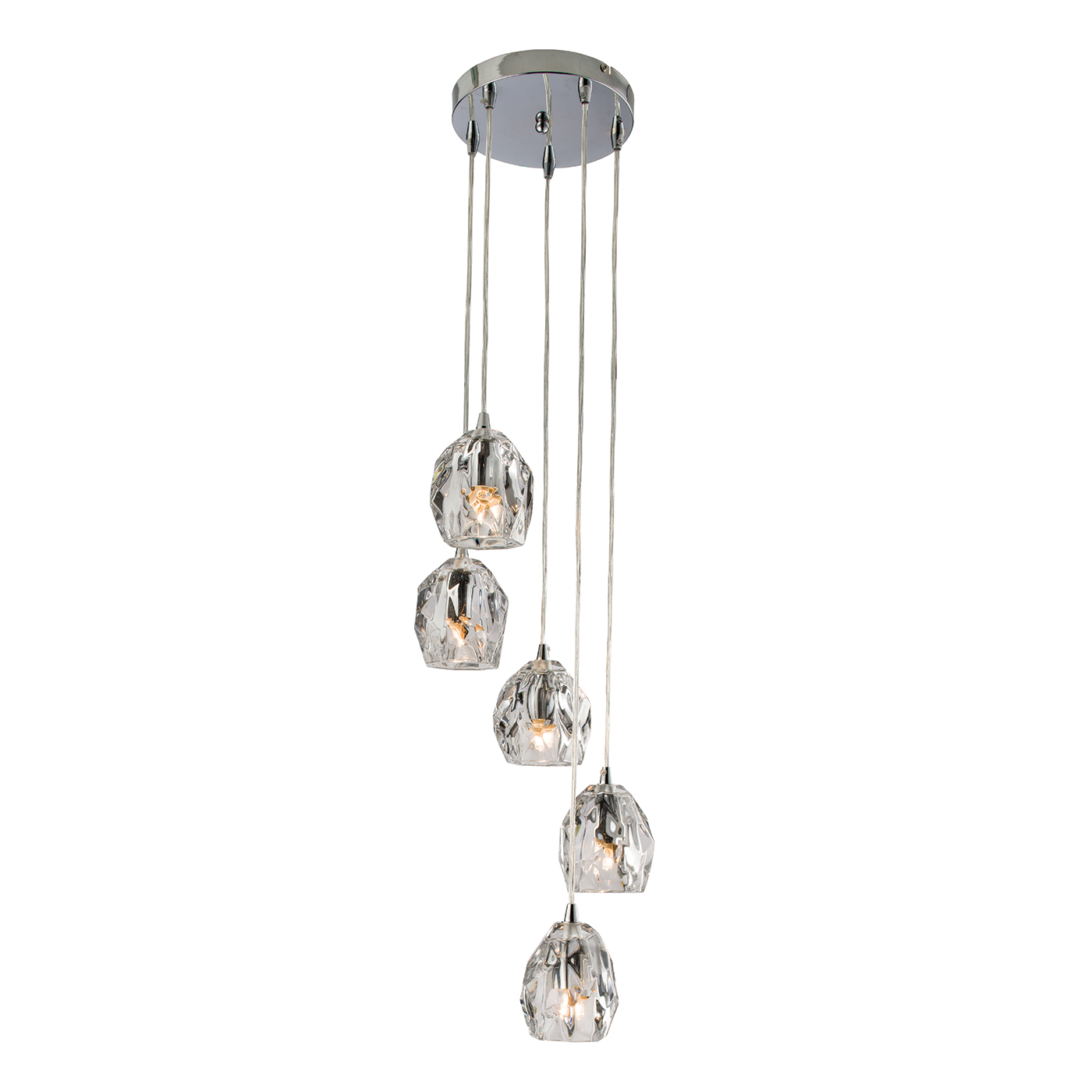 Endon Poitier pendant 5x 18W Chrome effect plate & clear glass Thumbnail 1