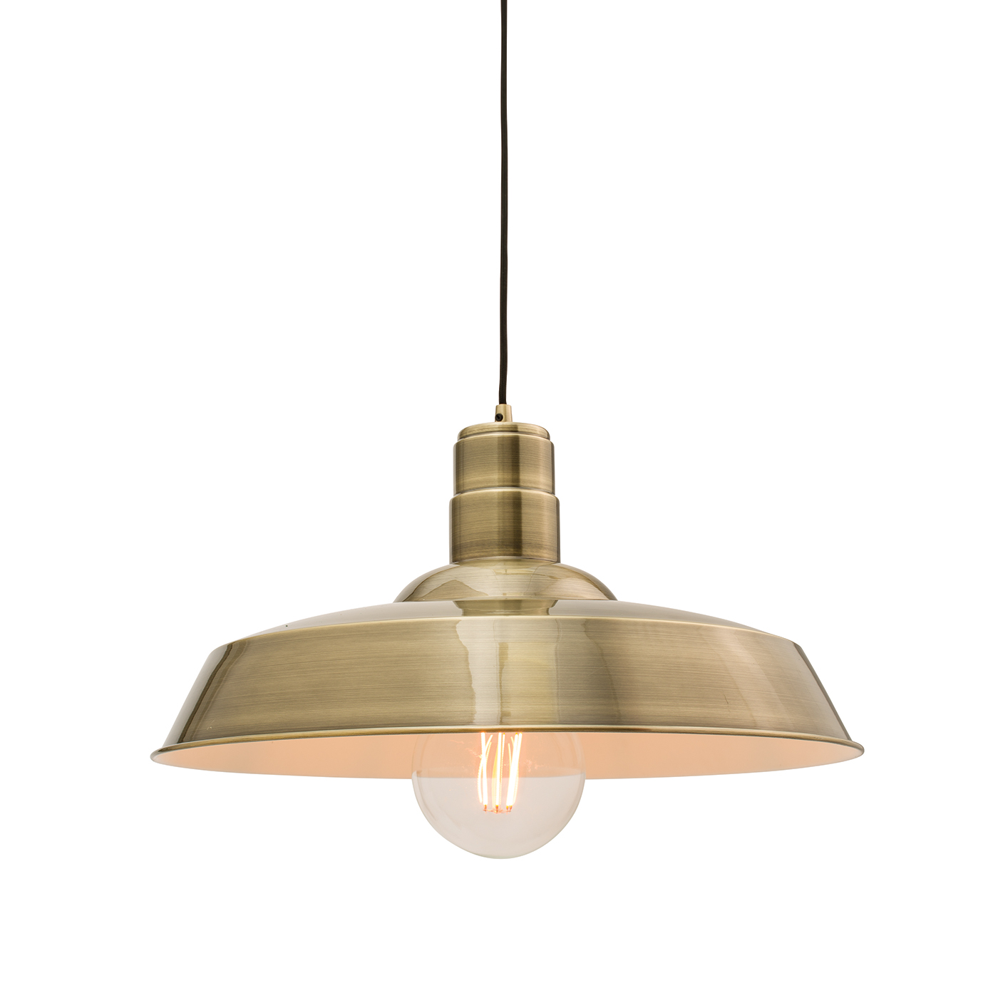 Endon Moore pendant 1x 60W Gloss antique brass plate Thumbnail 1