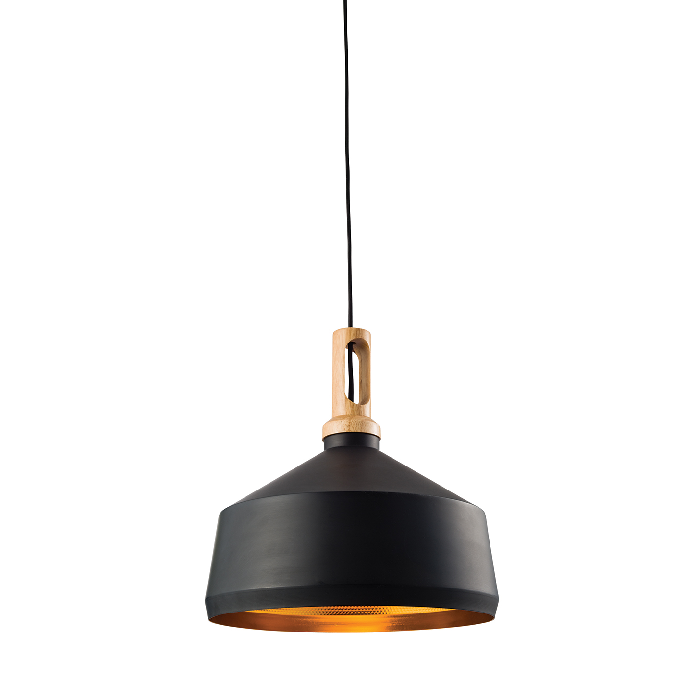 Endon Garcia pendant 1x 60W Matt black & light effect wood Thumbnail 1