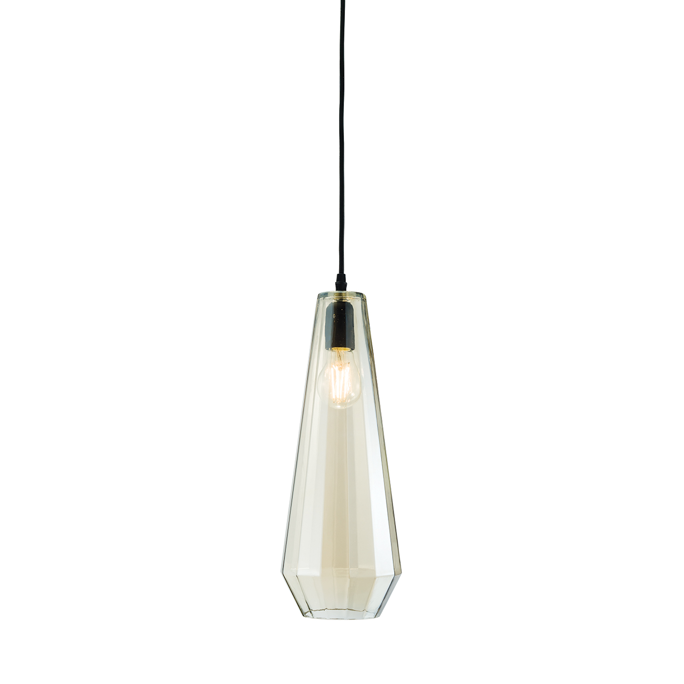 Endon Gibson pendant 1x 60W Cognac tinted glass & matt black