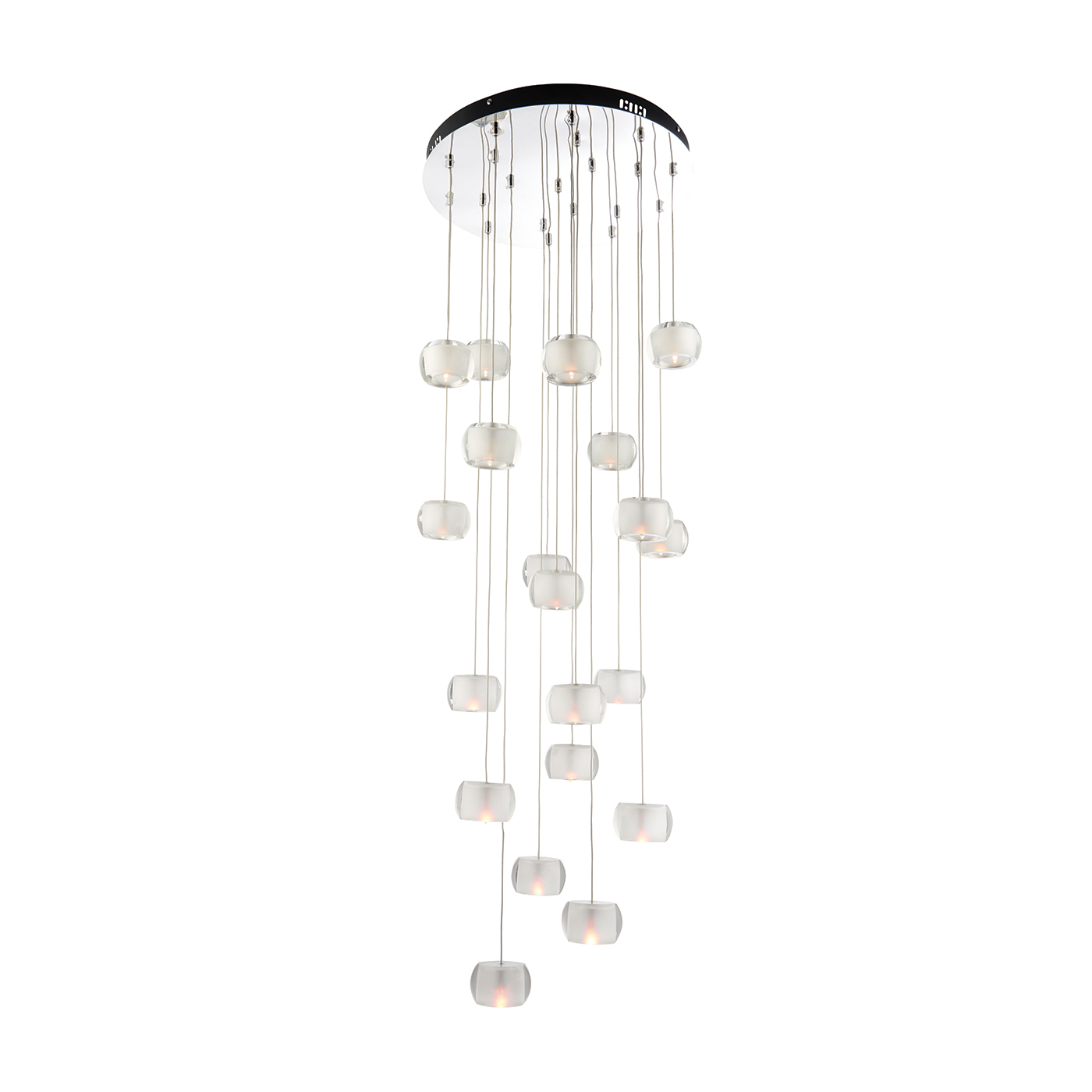 Endon Seymour pendant 20x 10W Chrome effect clear crystal glass frosted inner