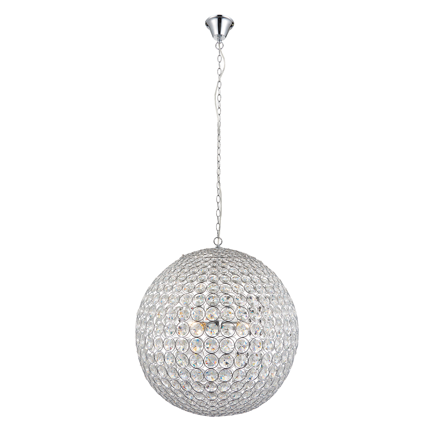 Endon Miley pendant 4x 60W Clear crystal glass detail & chrome effect plate Thumbnail 1