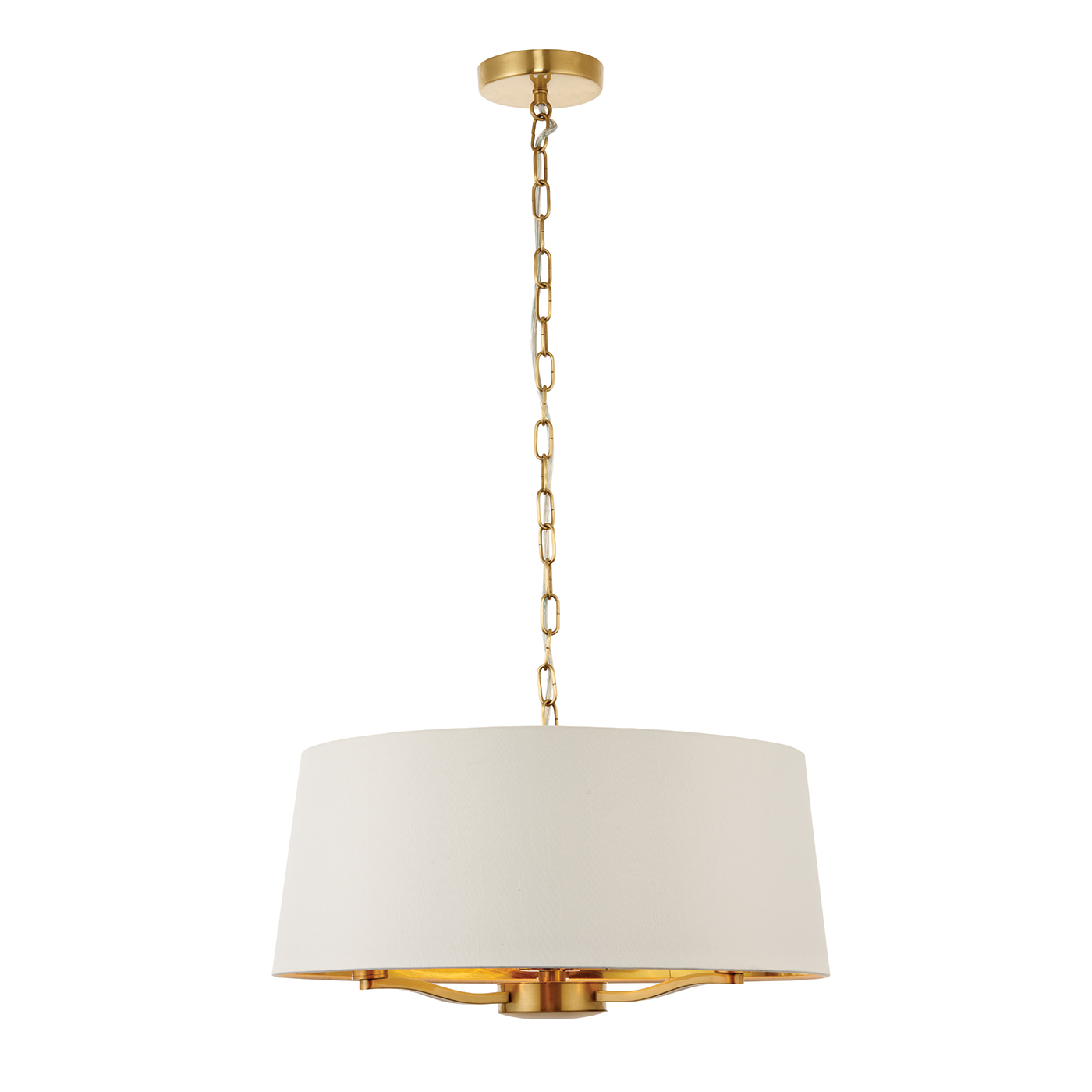 Endon Harvey pendant 3x 40W Satin brushed gold effect vintage white faux silk