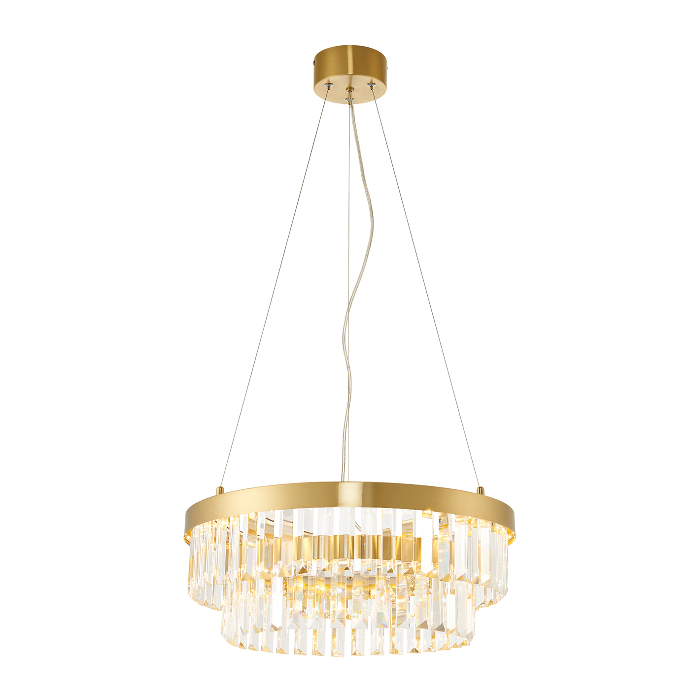 Endon Elise ring chandelier 16W Satin brushed gold effect plate