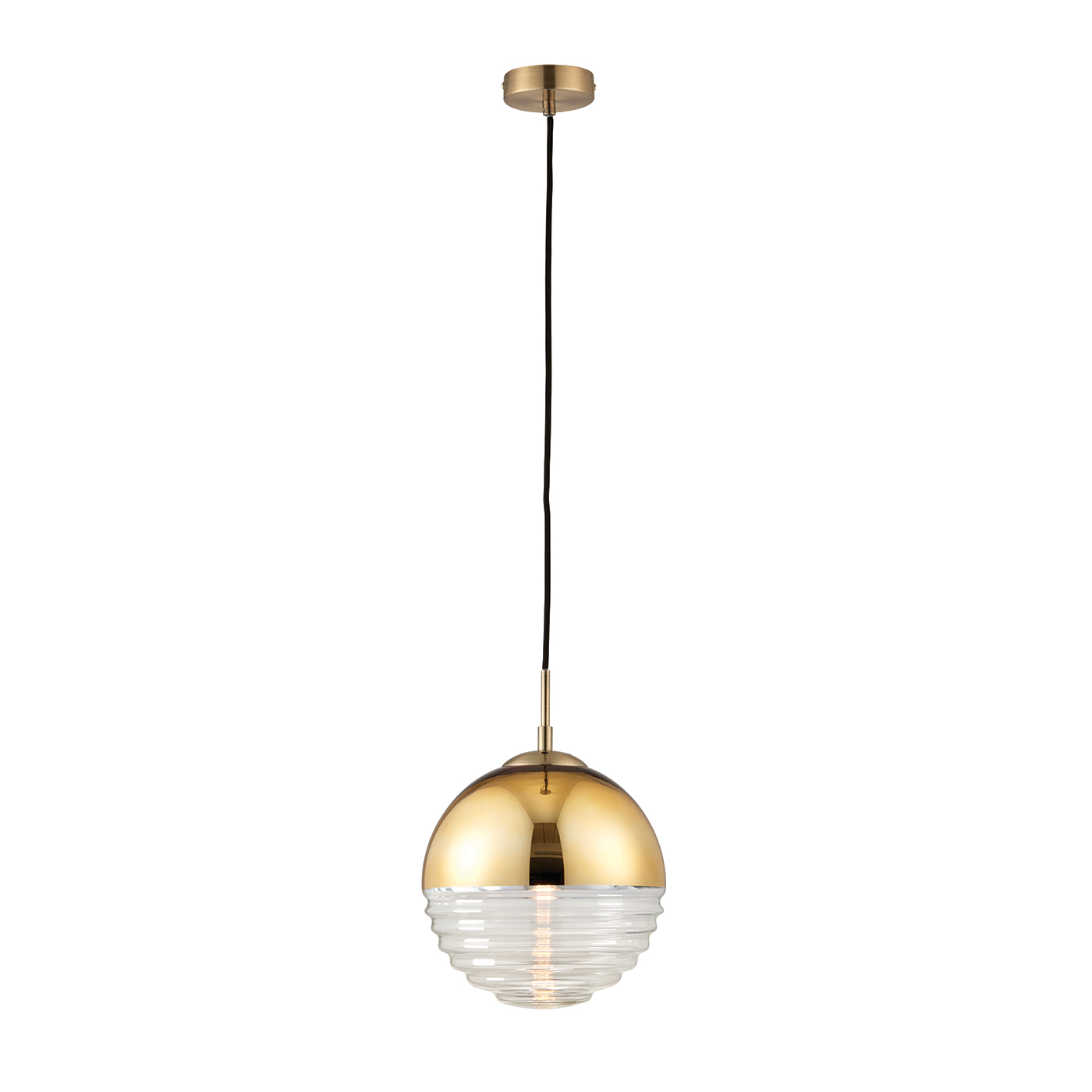 Endon Paloma pendant 1x 40W Gold effect & clear ribbed glass Thumbnail 1