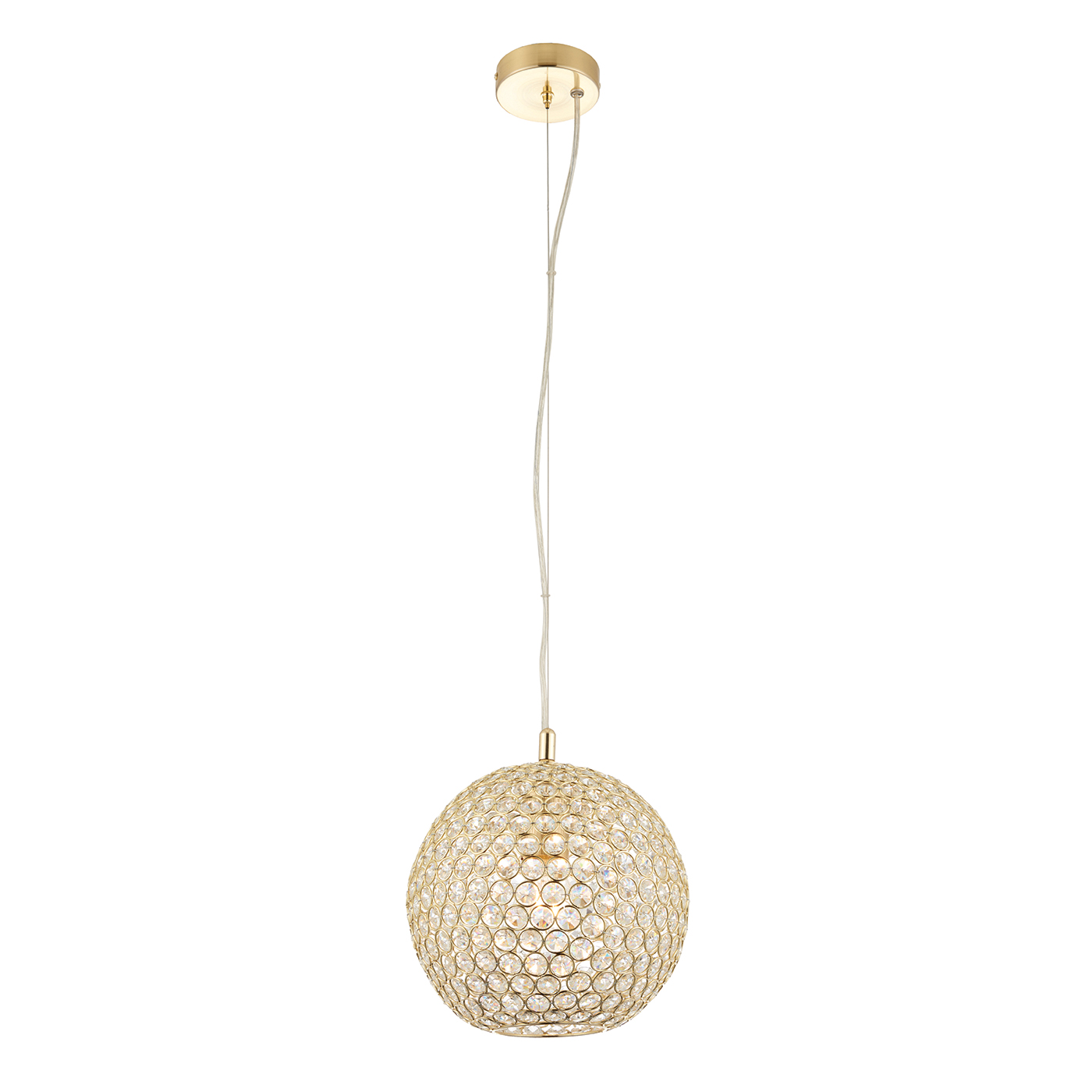 Endon Claudia pendant 1x 40W Brass effect plate & clear crystal glass detail