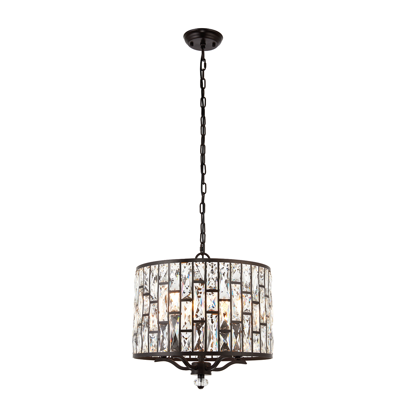 Endon Belle pendant 5x 40W Dark bronze effect plate & clear crystal Thumbnail 1