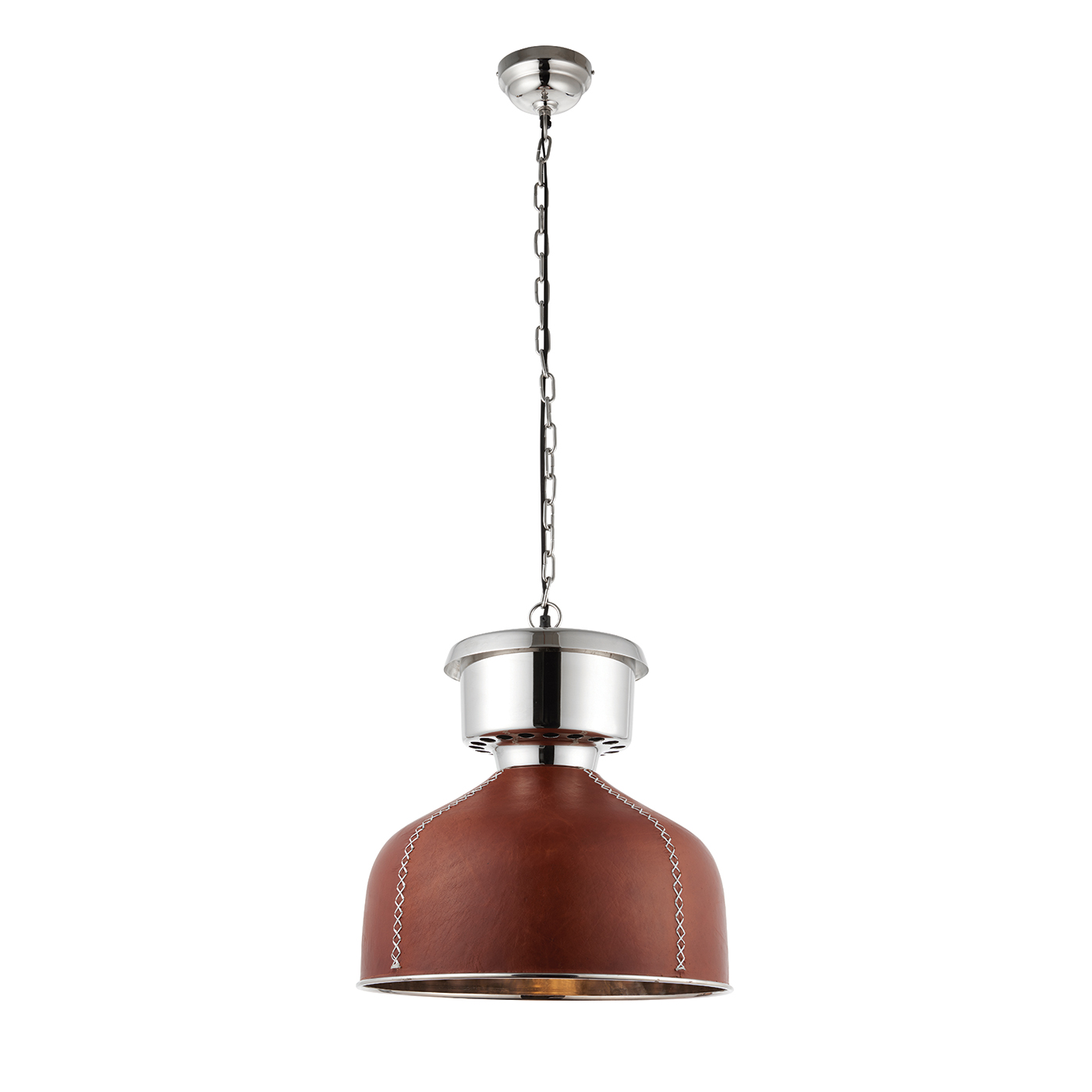 Endon Michigan pendant 1x 40W Golden brown leather & bright nickel plate