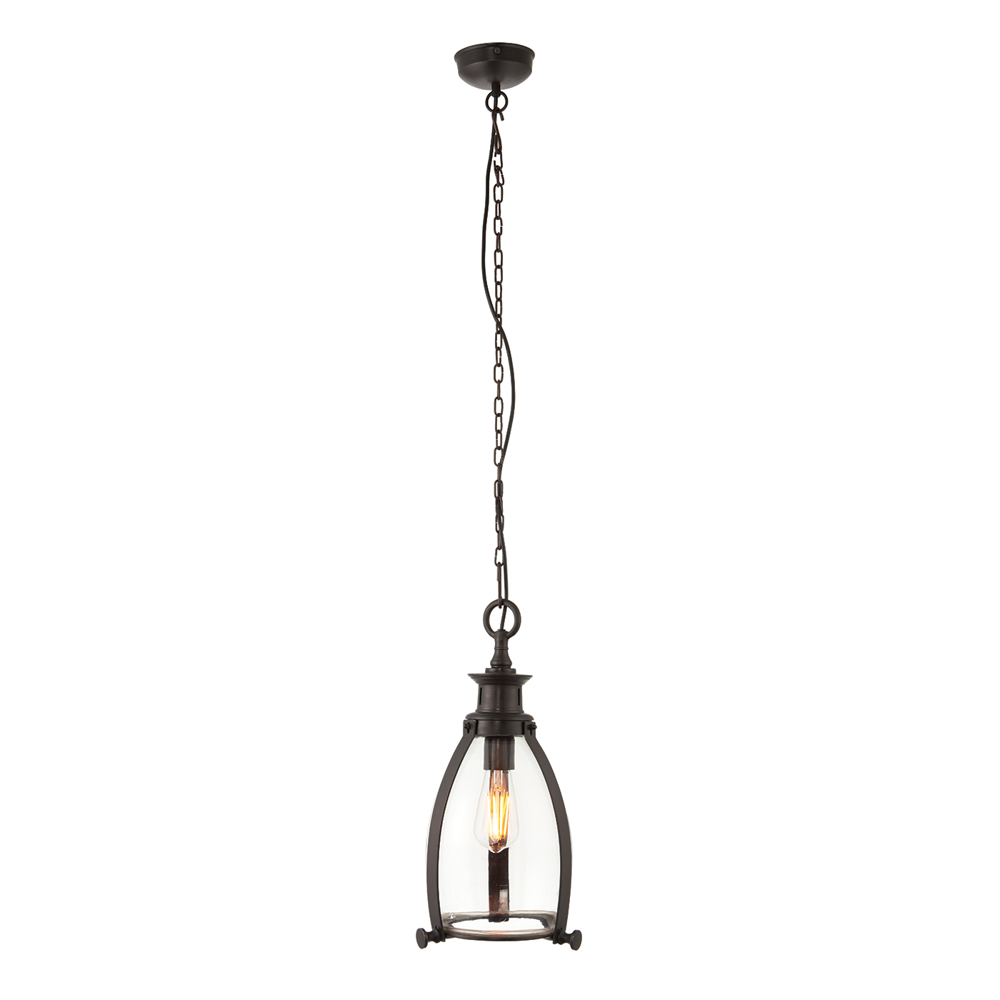 Endon Storni 210mm pendant 40W Aged bronze effect plate & clear glass
