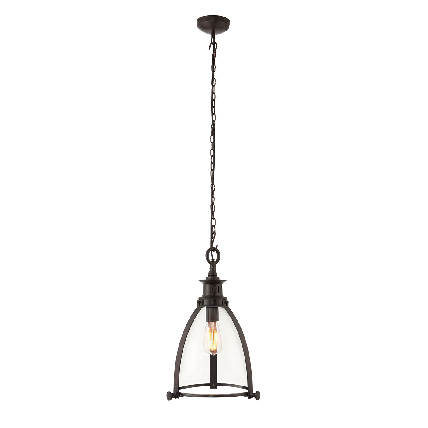 Endon Storni 285mm pendant 40W Aged bronze effect plate & clear glass Thumbnail 1