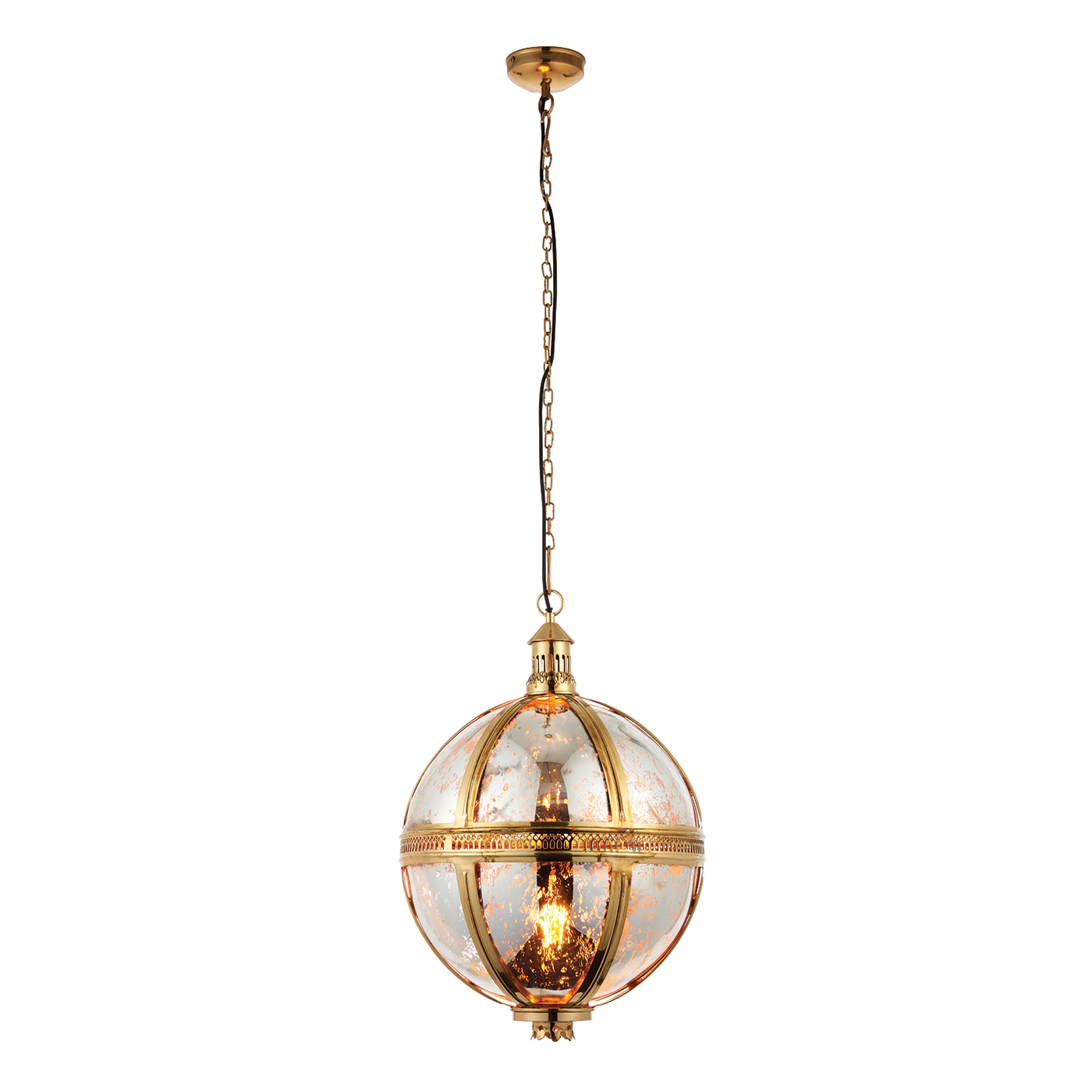 Endon Vienna 410mm pendant 40W Solid brass & mercury glass