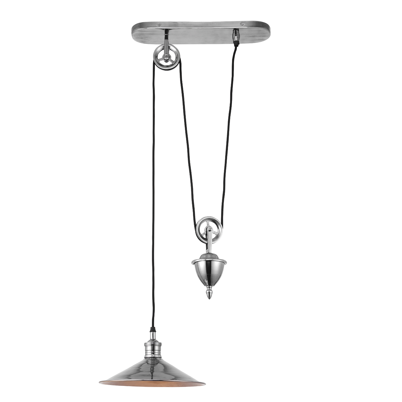 Endon Victoria rise & fall pendant 40W Antique silver effect plate