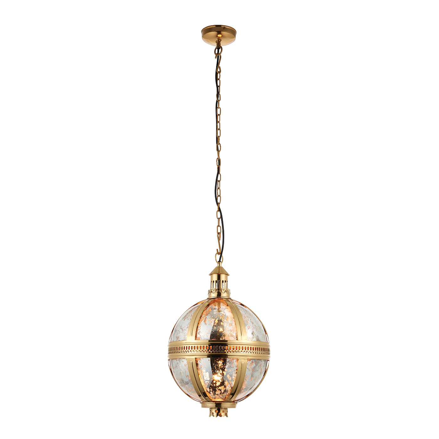Endon Vienna 305mm pendant 40W Solid brass & mercury glass