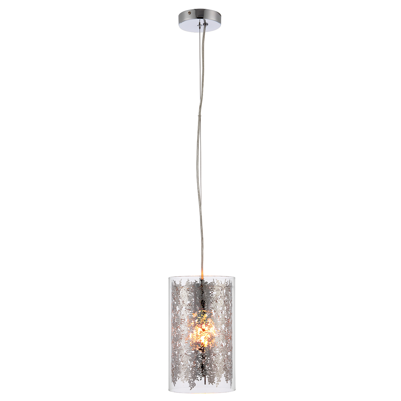Endon Lacy pendant 1x 40W Clear glass & chrome effect plate